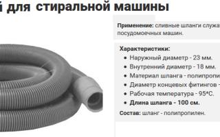 Длина и диаметр сливного шланга стиральной машины