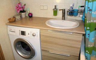 Столешница над стиральной машиной в ванной